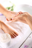 Foot care treatments Royalty Free Stock Images