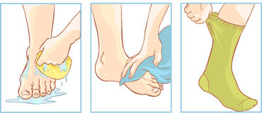 Foot care. Vector illustration of an foot care Stock Photography