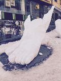 A foot carved in the snow. This picture represents a foot carved in the snow in Andorra, who is a country situated between France and Belgium in Eastern Pyrenees Stock Image