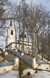 At the foot of the Cathedral of the Assumption of the Blessed Virgin of the Assumption Monastery Svyatogorsk. Pushkin mountains Royalty Free Stock Photography