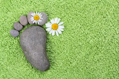 Foot with chamomile on green towel Royalty Free Stock Image