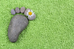 Foot with chamomile on  green towel Stock Images