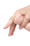 Foot of the child in a hand of mum. It is isolated Royalty Free Stock Image