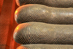 Foot detail of reclining Buddha-statue Royalty Free Stock Photo