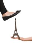 Foot with Eiffel Tower Royalty Free Stock Images