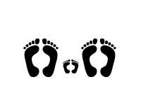 Foot family Print. On White Background Royalty Free Stock Photos