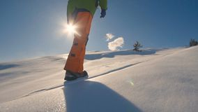 Foot feet steeps. hiking walking. slow motion. snow winter landscape.holiday. Hd stock video