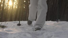 Foot feet steeps. hiking walking. slow motion. snow winter landscape. recreation activity. holiday vacation tourism. People persons. outdoors sports stock video