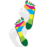 Foot Fetish. Multicolored footprints are featured in an abstract illustration Royalty Free Stock Photo