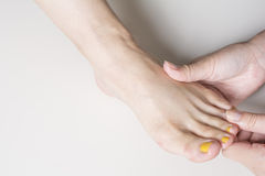 Foot finger dorsal massage Royalty Free Stock Image