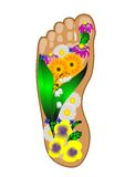 Foot with flowers Royalty Free Stock Photography