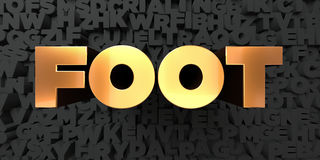 Foot - Gold text on black background - 3D rendered royalty free stock picture Stock Image