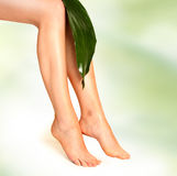 Foot on green Stock Image