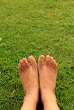Foot on the green grass in the lawn. Stock Images