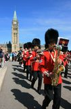 Foot Guards Marching with Reed Instruments Stock Photo