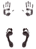 Foot and hand print Stock Image