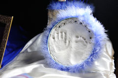 Foot and hand prints. Children`s foot and hand prints royalty free stock photos