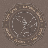 Foot, hand and text Foot Care Natural Beauty. Stock Images