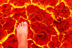 Foot heat red cracked ground texture. vector illustration
