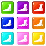 Foot heel icons 9 set Royalty Free Stock Images