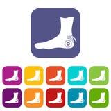 Foot heel icons set flat Stock Photography