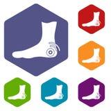 Foot heel icons set hexagon Royalty Free Stock Photo