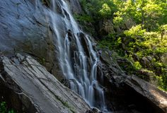 404 Foot Hickory Nut Falls. The 404 foot Hickory Nut Falls in Chimney Rock State Park, North Carolina stock photos