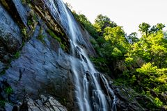 404 Foot Hickory Nut Falls. The 404 foot Hickory Nut Falls in Chimney Rock State Park, North Carolina royalty free stock photos