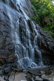 404 Foot Hickory Nut Falls. The 404 foot Hickory Nut Falls in Chimney Rock State Park, North Carolina stock images