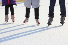 Foot ice-skating person on the ice rink Stock Photography