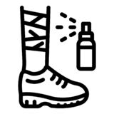 Foot injury spray icon, outline style