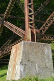 Foot of an iron bridge and trestle. Foot of an iron bridge. Trestle, Tracel of Cap-Rouge, Quebec, Canada Stock Image