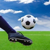 Foot kicking soccer ball to goal Stock Photography