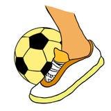 Foot kicks a soccer ball black and white. vector illustration. Foot kicks a soccer ball black and white vector illustration Stock Image