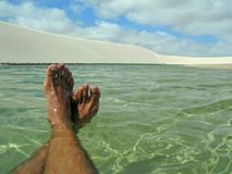 Foot in lake Royalty Free Stock Image