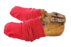 Foot Lasts with Socks Royalty Free Stock Photography
