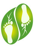 Foot leaf logo. Illustration of leaf foot print design isolated on white background stock illustration