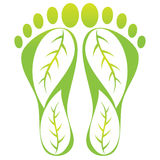 Foot leaf print. Illustration of foot leaf print design isolated on white background Royalty Free Stock Photo