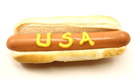Foot Long Hot Dog with USA written on it Stock Images
