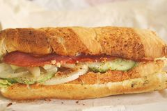 Foot long subway sandwich ready to be eaten Royalty Free Stock Photo