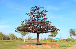 USA, Arizona/Tempe: Steel Tree Sculpture Stock Photo