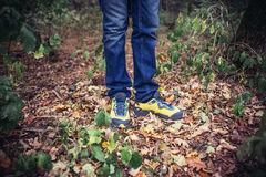 Foot Man walking on fall in the park on autumn leaves. Lifestyle. Foot Man walking in the park on autumn leaves. The autumn season on a background of nature Stock Photos