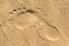 Foot mark on sand. Royalty Free Stock Image