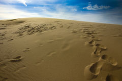Foot marks on sand dunes of Silver Lake Stock Photography