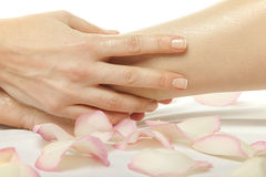 Foot massage female legs Royalty Free Stock Photos