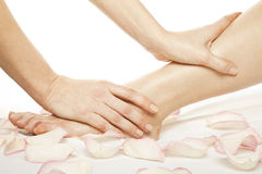 Foot massage female legs Royalty Free Stock Photography