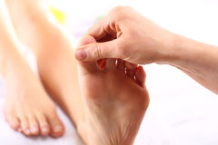 Foot massage, Foot reflexology. Masseuse massaging woman's foot.Natural medicine, reflexology, acupressure foot massager oppresses energy flow points royalty free stock image