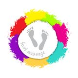 Foot massage logo. Silhouette of the foot on the background of a colorful hand drawn brushstroke paint design element. Reflexology. Stock . Flat design Stock Photos