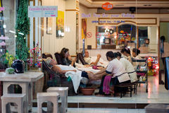 Foot massage at the Night Market in Hua Hin Stock Photos