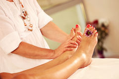 Foot massage in the Spa Stock Photos